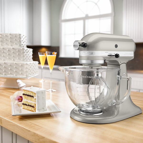 KitchenAid KSM155GBSR Sugar Pearl Silver Premium Metallic Series 5 Qt. Countertop Mixer