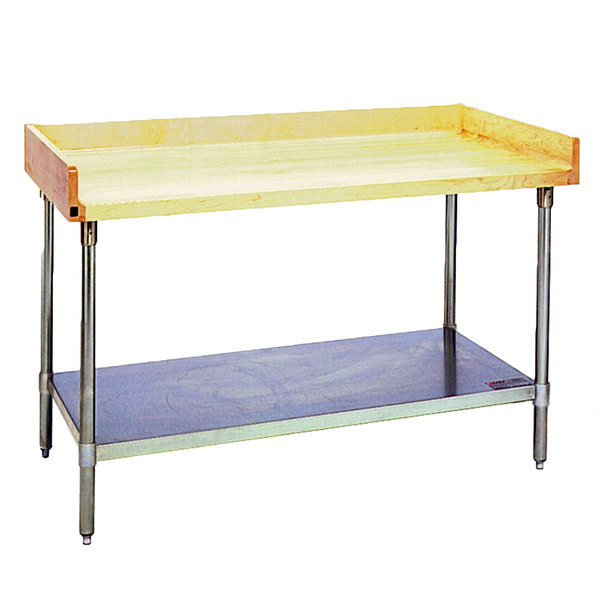 "Eagle Group MT3072B-BS Wood Top Work Table with Galvanized Undershelf and 4"" Backsplash - 30"" x 72"""