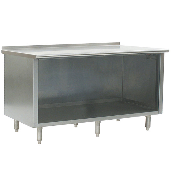 "Eagle Group UOB2484SE 24"" x 84"" Work Table with Open Cabinet Base and 1 1/2"" Backsplash"