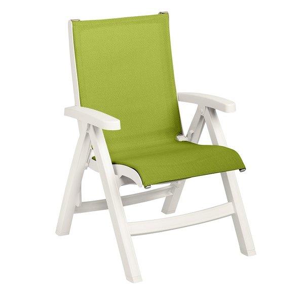Grosfillex US393004 Belize Midback Folding Resin Sling Armchair - White Frame / Fern Green Sling - 2/Pack