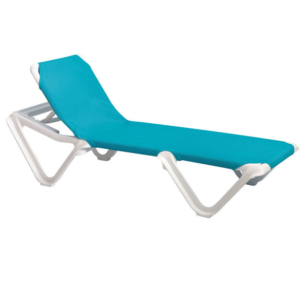 Case of 12 Grosfillex 99101241 / US101241 Nautical White / Turquoise Stacking Adjustable Resin Sling Chaise