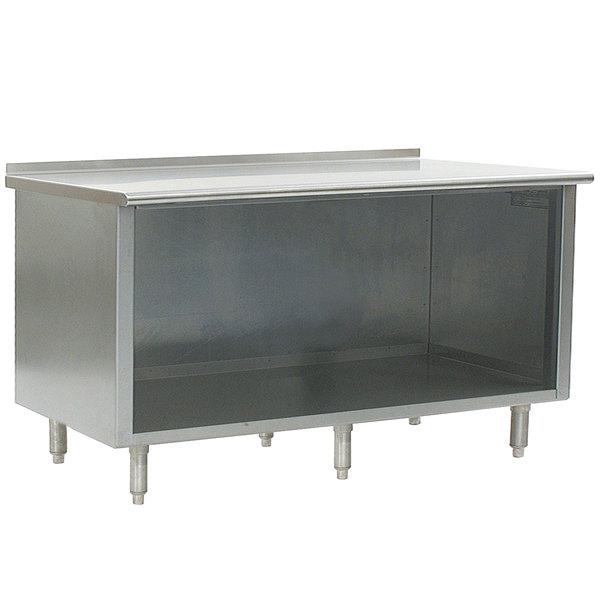 "Eagle Group UOB3084SE 30"" x 84"" Work Table with Open Cabinet Base and 1 1/2"" Backsplash"