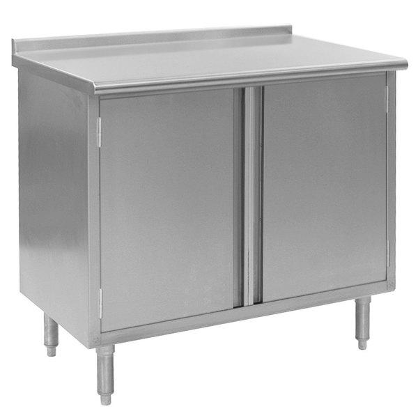 "Eagle Group UCBH3072SE 30"" x 72"" Work Table with Cabinet Base and 1 1/2"" Backsplash"