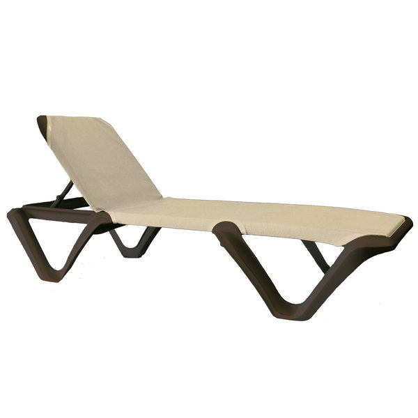 Pack of 2 Grosfillex 99414137 / US414137 Marina Bronze Mist / Khaki Stacking Adjustable Resin Sling Chaise