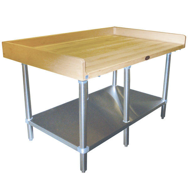 """Advance Tabco BS-308 Wood Top Baker's Table with Stainless Steel Undershelf - 30"""" x 96"""""""