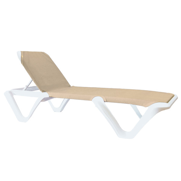 Pack of 2 Grosfillex 99101003 / US910103 Nautical White / Khaki Stacking Adjustable Resin Sling Chaise