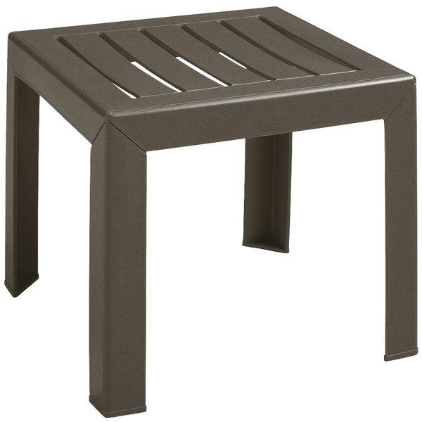 "Grosfillex CT052037 Bahia 16"" x 16"" Bronze Mist Resin Low Table"