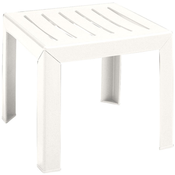 "Grosfillex CT052004 Bahia 16"" x 16"" White Resin Low Table"
