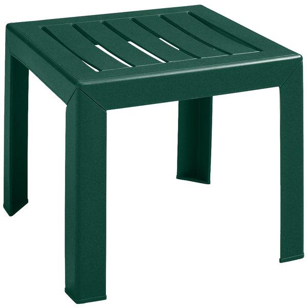 "Grosfillex CT052078 Bahia 16"" x 16"" Amazon Green Resin Low Table"
