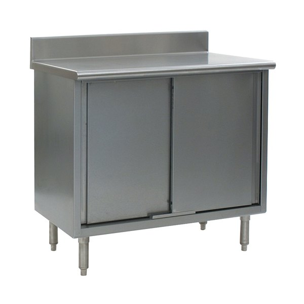 """Eagle Group CB3084SE-BS 30"""" x 84"""" Work Table with Cabinet Base and 4 1/2"""" Backsplash"""