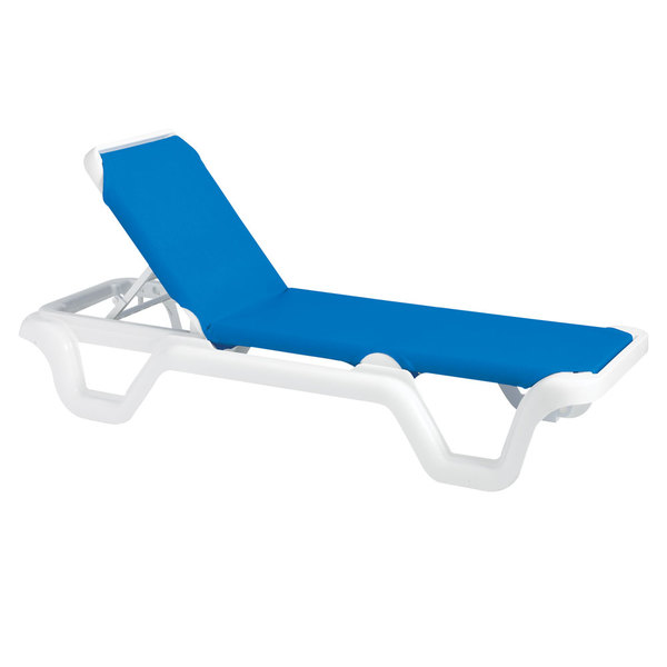 Pack of 2 Grosfillex 99404006 / US404006 Marina White / Blue Stacking Adjustable Resin Sling Chaise