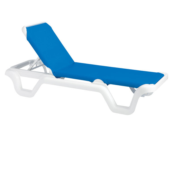 Case of 14 Grosfillex 99404006 / US404006 Marina White / Blue Stacking Adjustable Resin Sling Chaise