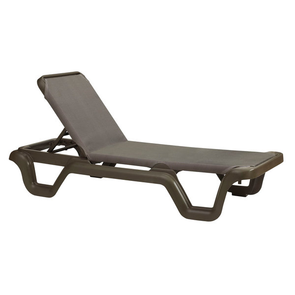 Case of 14 Grosfillex 99515137 / US515137 Marina Bronze Mist / Espresso Stacking Adjustable Resin Sling Chaise