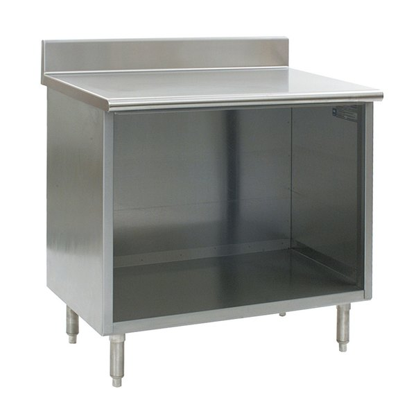 """Eagle Group OB2436SE-BS 24"""" x 36"""" Work Table with Open Front Cabinet Base and 4 1/2"""" Backsplash"""