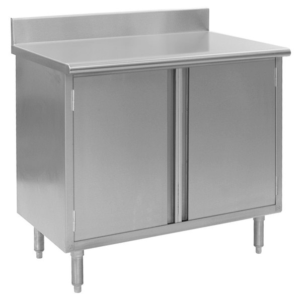 """Eagle Group CBH3060SE-BS 30"""" x 60"""" Work Table with Cabinet Base and 4 1/2"""" Backsplash"""