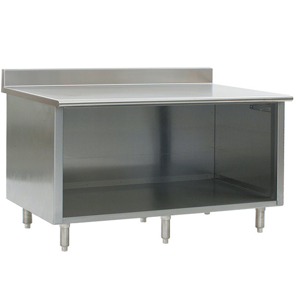 """Eagle Group OB3084SE-BS 30"""" x 84"""" Work Table with Open Front Cabinet Base and 4 1/2"""" Backsplash"""