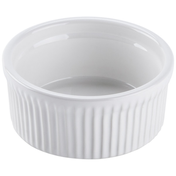 Tuxton BWX-1002 DuraTux 10 oz. White Fluted China Souffle / Ramekin - 12/Case