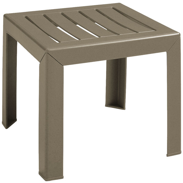"Grosfillex CT052181 Bahia 16"" x 16"" Taupe Resin Low Table"