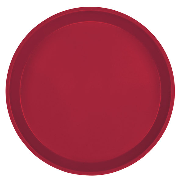 "Cambro 1400505 14"" Round Cherry Red Customizable Fiberglass Camtray - 12/Case"