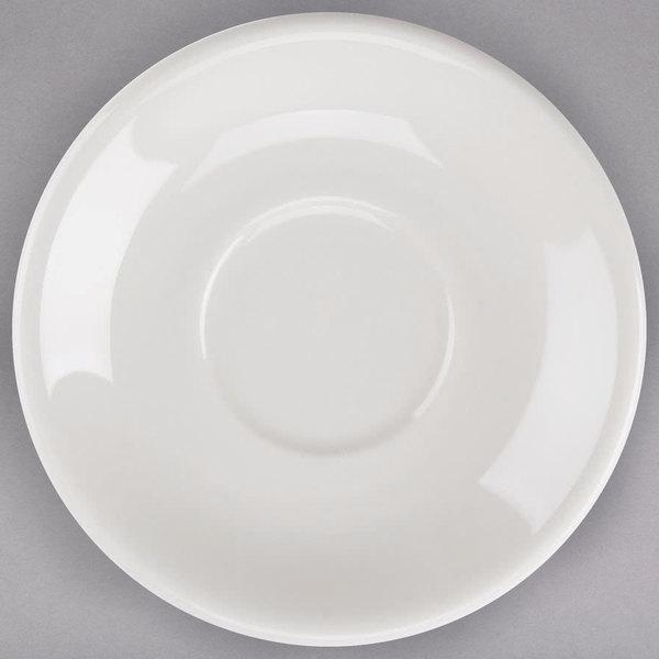 "Tuxton TRE-966 DuraTux 6"" Ivory (American White) China Steakhouse Saucer - 24/Case"