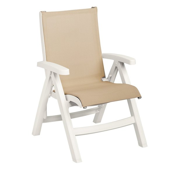 Grosfillex CT352004 Belize Midback Folding Resin Sling Armchair - White Frame / Khaki Sling - 2/Pack