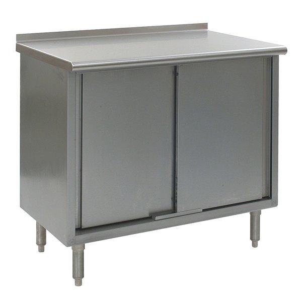 "Eagle Group UCB3084SE 30"" x 84"" Work Table with Cabinet Base and 1 1/2"" Backsplash"