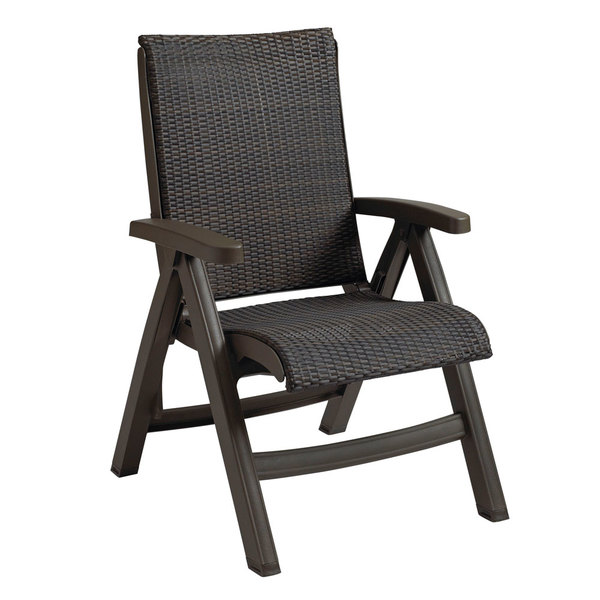 Grosfillex CT356037 Java Wicker Resin Folding Chair - Bronze Mist Frame / Espresso Weave - 2/Pack Main Image 1