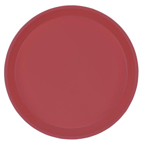 "Cambro 1100410 11"" Round Raspberry Cream Customizable Fiberglass Camtray - 12/Case"