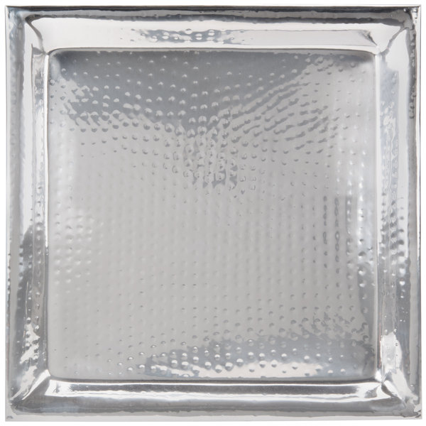 """American Metalcraft HMSQ22 22"""" Hammered Square Tray"""