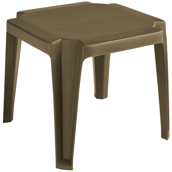 "Grosfillex 52099037 / US529837 Miami 17"" x 17"" Bronze Mist Resin Low Table"