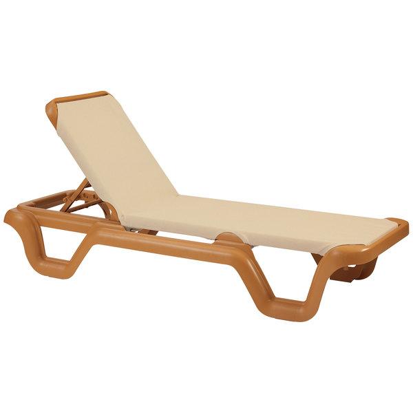 Grosfillex 99414108 / US414108 Marina Teakwood / Khaki Stacking Adjustable Resin Sling Chaise Main Image 1