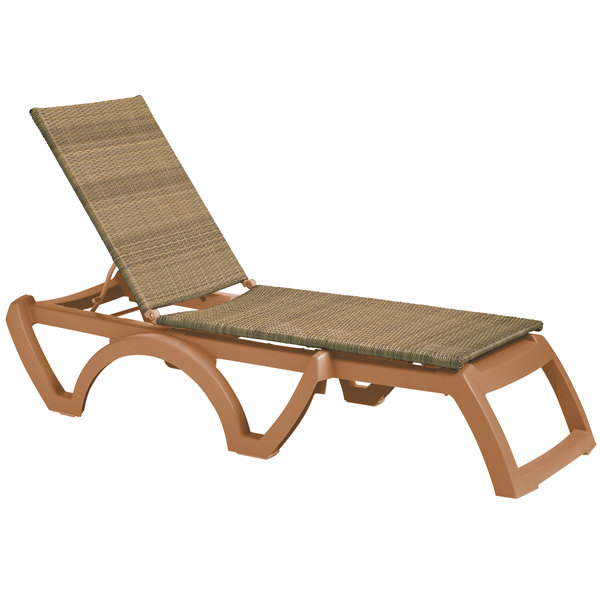 Grosfillex US465208 / US645208 Java Tobacco / Honey Wicker Resin Chaise Main Image 1