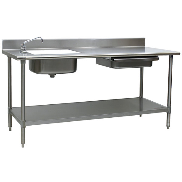 """Sink on Left Eagle Group PT 3072 Stainless Steel Prep Table with Sink, Drawer, Cutting Board, and Undershelf - 72"""""""