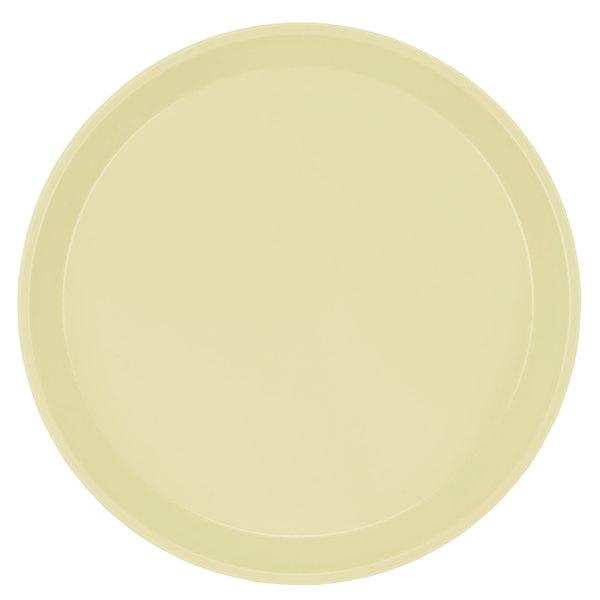 "Cambro 1400536 14"" Round Lemon Chiffon Customizable Fiberglass Camtray - 12/Case"