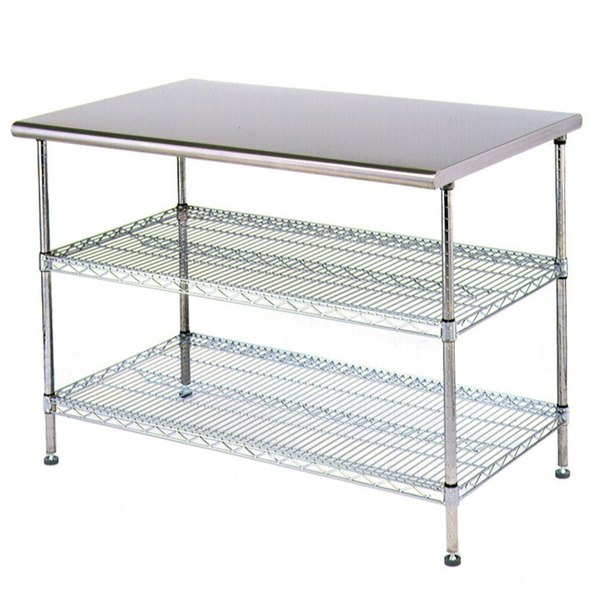 """Eagle Group T2448EW 24"""" x 48"""" Stainless Steel Table with 2 Chrome Wire Undershelves"""