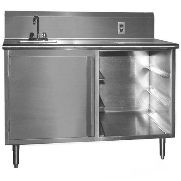 """Sink on Left Eagle Group BEV3048SE-10BS Beverage Table - 48"""""""