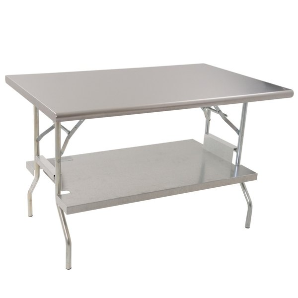 """Eagle Group T3048F-US 30"""" x 48"""" Stainless Steel Lok-n-Fold Open Base Table with Removable Galvanized Undershelf"""