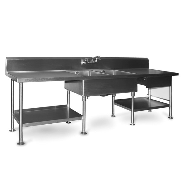 Eagle Group SMPT Stainless Steel Prep Table With Sink Drawer - Stainless steel prep table with shelves