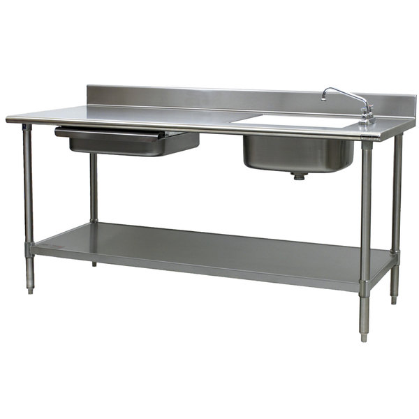 """Sink on Right Eagle Group PT 3084 Stainless Steel Prep Table with Sink, Drawer, Cutting Board, and Undershelf - 84"""""""