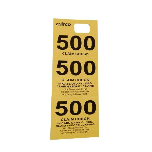 Yellow 3 Part Paper Coat Room Check - 500/Box