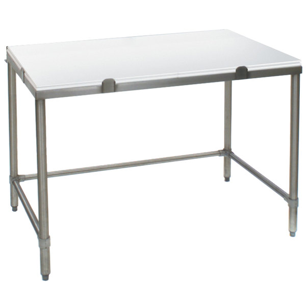 """Eagle Group CHT3048S 30"""" x 48"""" Poly Top Stainless Steel Chopping Table - Open Base"""
