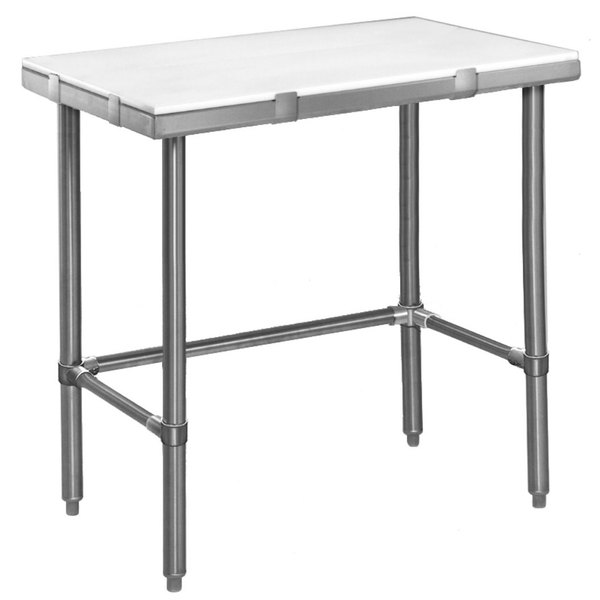 """Eagle Group CT2436S 24"""" x 36"""" Poly Top Stainless Steel Cutting Table - Open Base"""