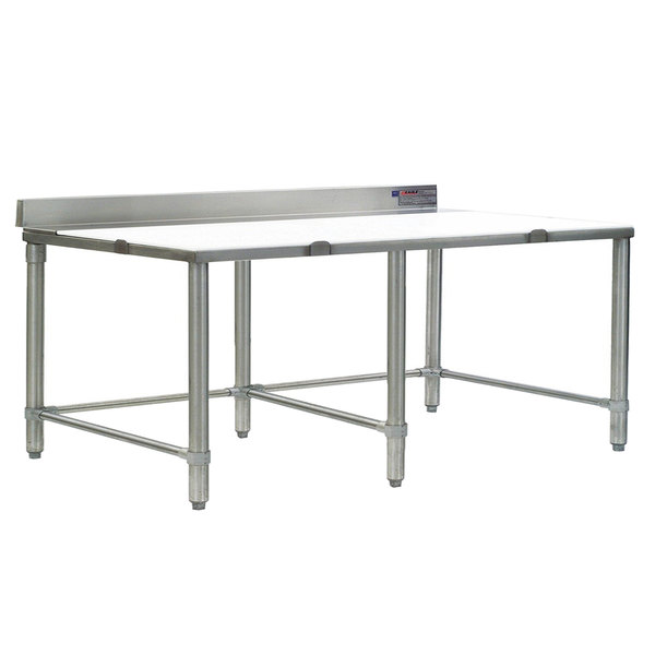 """Eagle Group TB30108S 30"""" x 108"""" Poly Top Stainless Steel Trimming Table - Open Base"""