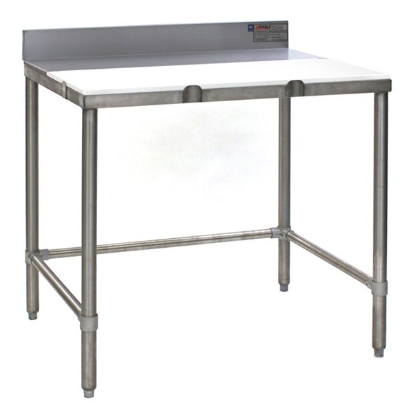"""Eagle Group TB3036S 30"""" x 36"""" Poly Top Stainless Steel Trimming Table - Open Base"""