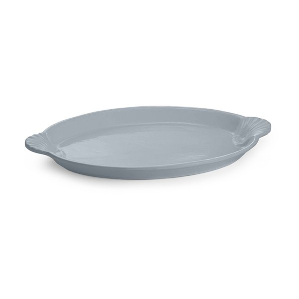 Tablecraft CW3030GY 20 inch x 14 inch Gray Cast Aluminum Oval Shell Platter