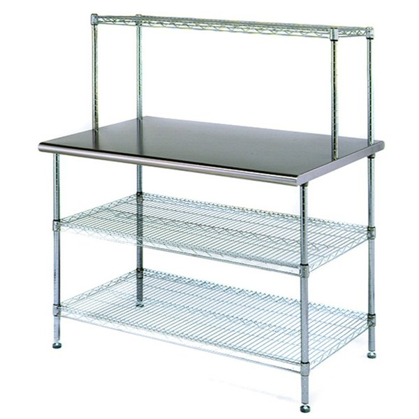 """Eagle Group T2448EBW-1 24"""" x 48"""" Stainless Steel Table with 2 Chrome Wire Undershelves and 1 Chrome Wire Overshelf"""