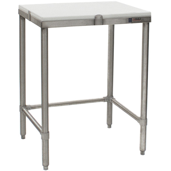 """Eagle Group CHT2424S 24"""" x 24"""" Poly Top Stainless Steel Chopping Table - Open Base"""