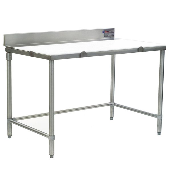"""Eagle Group CT3072S-BS 30"""" x 72"""" Poly Top Stainless Steel Cutting Table - Open Base"""