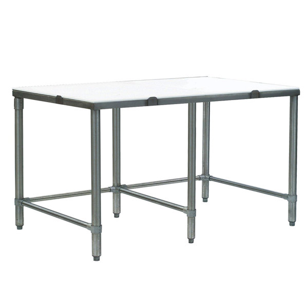"""Eagle Group CT2496S 24"""" x 96"""" Poly Top Stainless Steel Cutting Table - Open Base"""