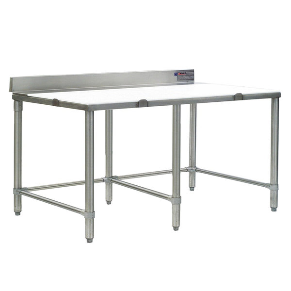 """Eagle Group CT3084S-BS 30"""" x 84"""" Poly Top Stainless Steel Cutting Table - Open Base"""